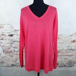 Gap XL Coral Pink Linen Blend V-Neck Sweater